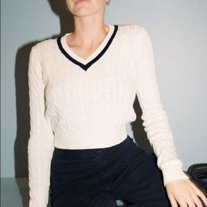 Brandy Melville Louisa Cable Knit White Sweater OS